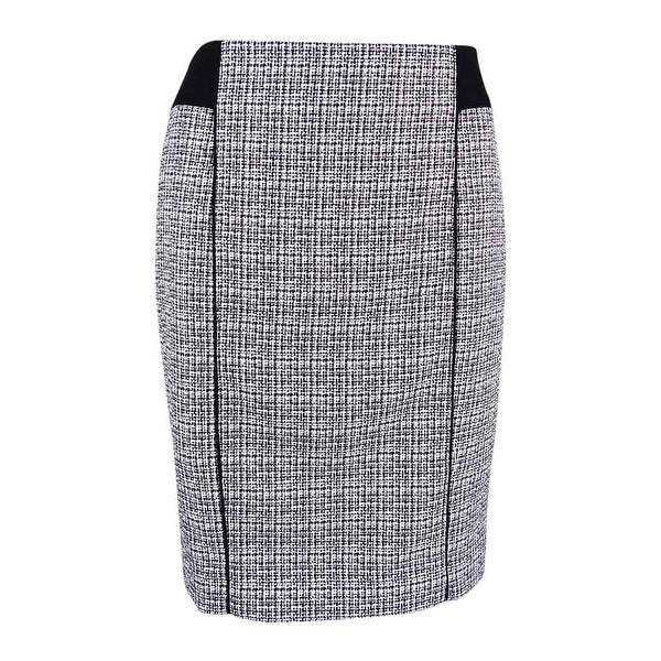 e3746a0bc Shop Calvin Klein Women's Petite Piped Stitched Tweed Skirt - WHITE/BLACK -  2p - Free Shipping On Orders Over $45 - Overstock - 19848728