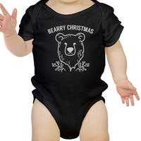 Bearry Christmas Bear Cute Christmas Baby Bodysuit Black New Mom Gift