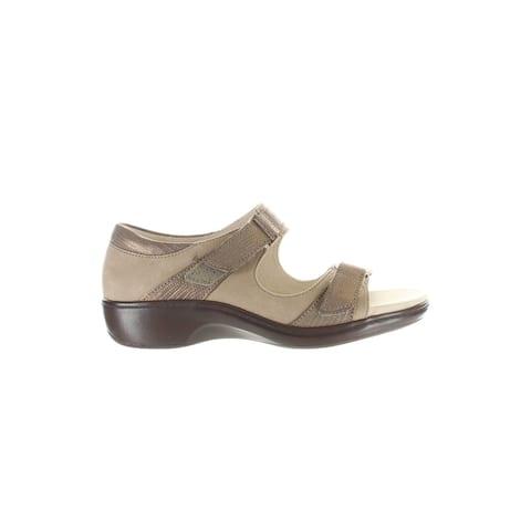Aravon Womens Duxbury Taupe Ankle Strap Sandals Size 7 (Wide)