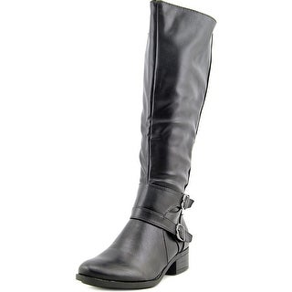 Madeline Taken Wide Calf Women Round Toe Synthetic Black Knee High Boot