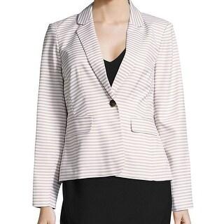 Calvin Klein NEW Beige Women's Size 6 Striped Notch Collar Blazer