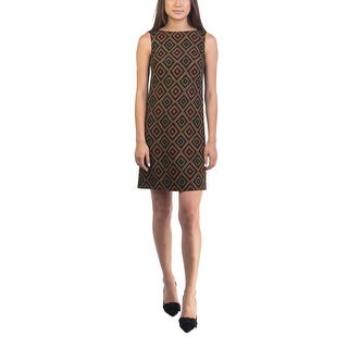 Prada Women's Virgin Wool Geometric Print Dress Orange