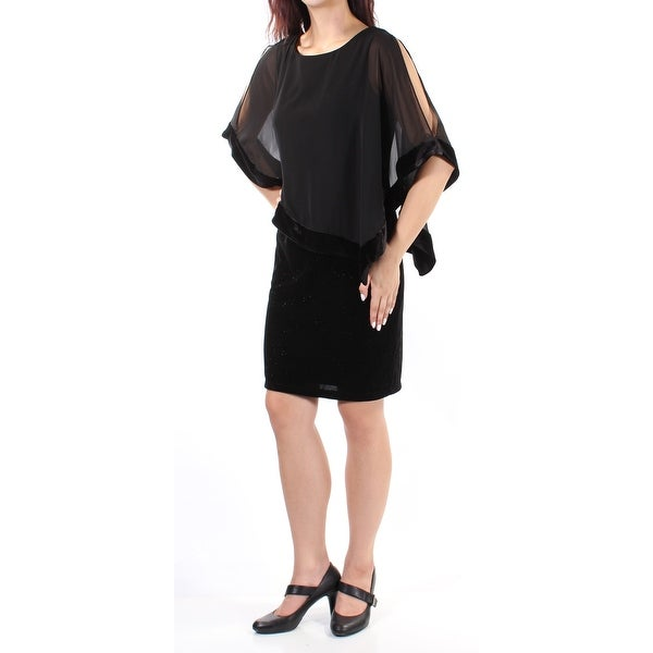 MSK Womens Black Sheer Cut Out Dolman Sleeve Jewel Neck Above The Knee Sheath Cocktail Dress Size: 6