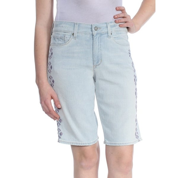 NYDJ Womens Blue Embroidered Denim Short Size: 8