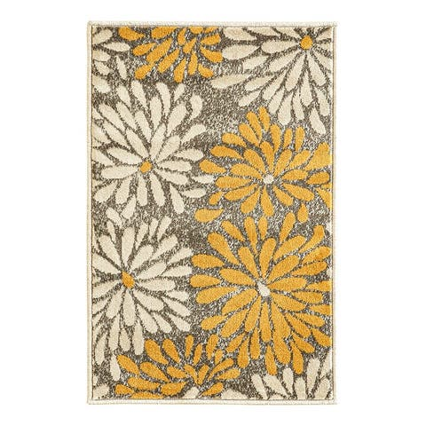 Cazza Mantoni Botanical Taupe Indoor Area Rug