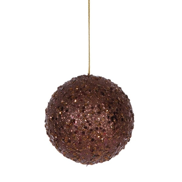 """Fancy Chocolate Holographic Glitter Drenched Christmas Ball Ornament 4.75"""" - brown"""