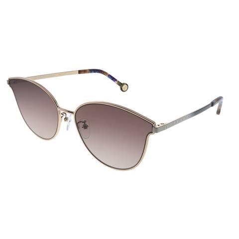 Carolina Herrera SHE 104 A39 Womens Rose Gold Frame Brown Mirror Lens Sunglasses