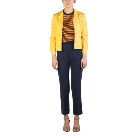 Miu Miu Women's Cotton Enclosed Buttoned Light Jacket Yellow
