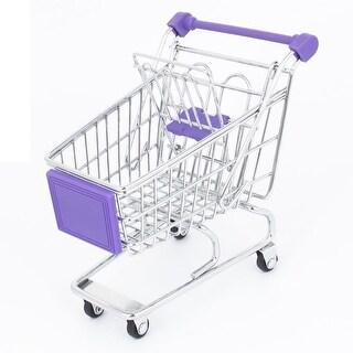 Utility Mini Shopping Cart Handcart Mode Desktop Storage Busket Purple