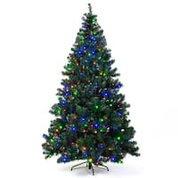 Costway 7.5Ft Pre-Lit Artificial Christmas Tree Hinged w/ 550 Multicolor Lights & Stand