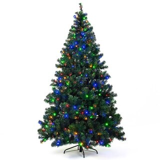 Costway 7.5Ft Pre-Lit Artificial Christmas Tree Hinged w/ 550 Multicolor Lights & Stand - green