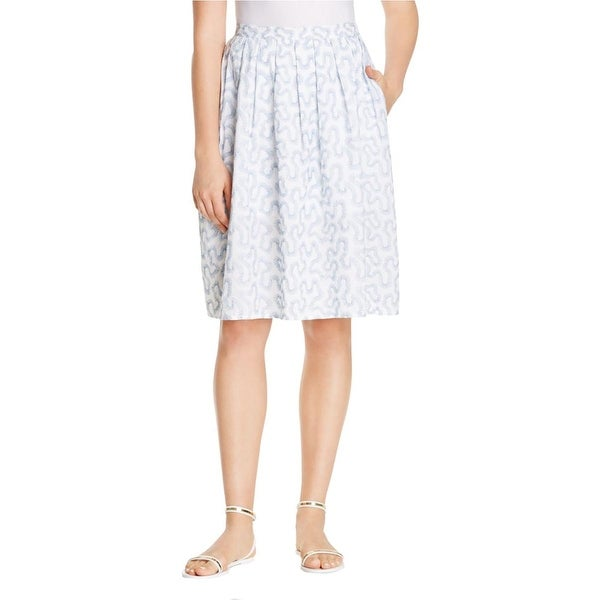 MICHAEL Michael Kors Womens A-Line Skirt Embroidered Pleated