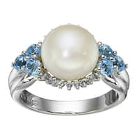 10 mm Freshwater Cultured Pearl & 1 ct Natural White & Swiss Blue Topaz Sunburst Halo Ring in Sterling Silver