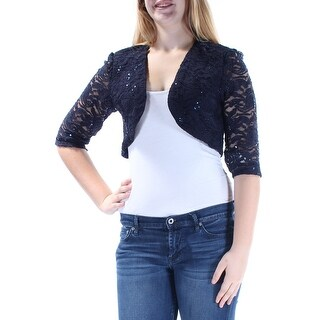 R&M RICHARDS $129 Womens New 1166 Navy Sequined Shrug 3/4 Sleeve Top 10 B+B