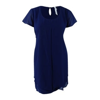 Ny Collection Women's Plus Size Cap-Sleeve Shift Dress - Navy - 1x