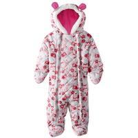 Pink Platinum Baby Girls Snowsuit Pram Owl Microfleece Quilted Puffer Bunting