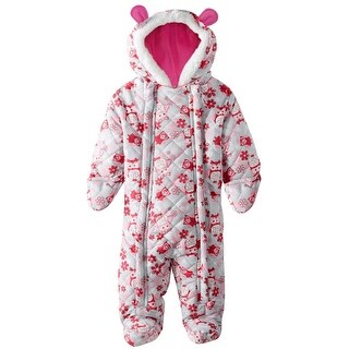 Pink Platinum Baby Girls Snowsuit Pram Owl Microfleece Quilted Puffer Bunting (2 options available)