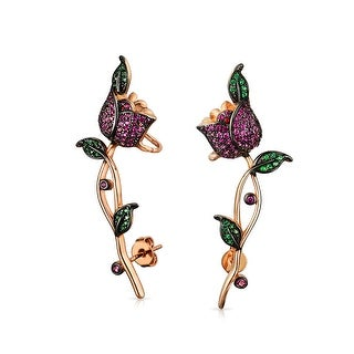 Bling Jewelry Rose Gold Plated Pink CZ Green CZ Rose Flower Ear Crawler Earrings