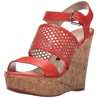 French Connection Womens Devi Leather Cork Wedge Sandals - 8.5 medium (b,m)