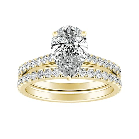 Ethical Sparkle 2 1/5ctw Lab Grown Pear-cut Diamond Engagement Ring Set 14k Gold Certified