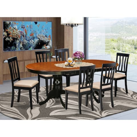 7 Pc Dining Set - Oval Dining Table with 6 Chairs - Black and Cherry Finish (Pieces Option)