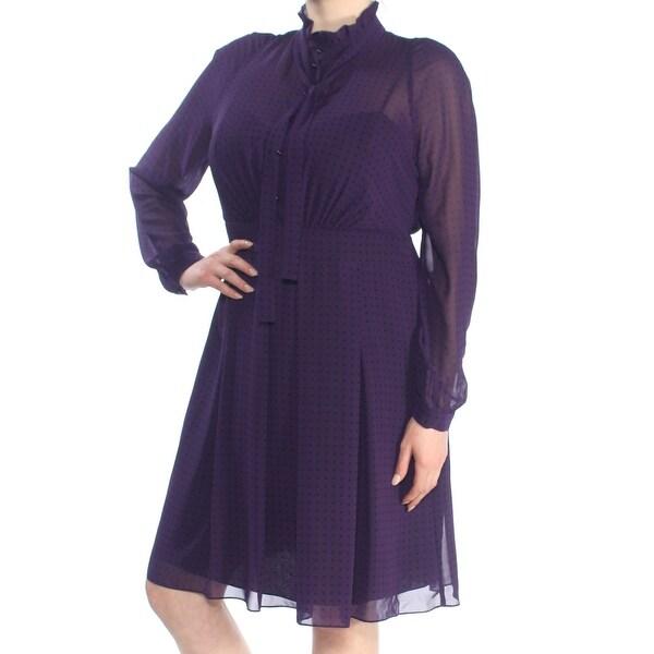 ANNE KLEIN Womens Purple Dot Print Mesh Long Sleeve Knee Length A-Line Dress Size: 16