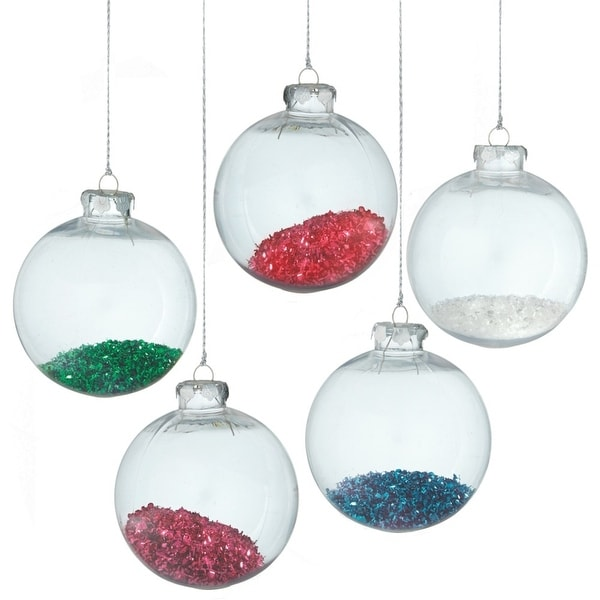 Christmas Tinsel Transparent.Clear Transparent Green Tinsel Filled Christmas Ball Ornament 4 25 110 Mm N A