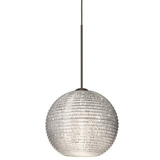Besa Lighting 1XT-4615GL Kristall 1-Light Mini Pendant with Glitter Glass Shade - N/A