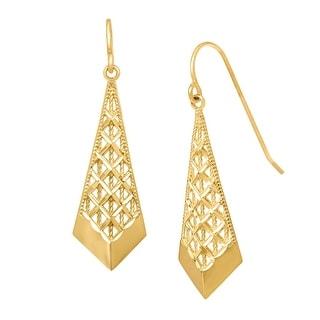 Just Gold Mesh Chevron Drop Earrings in 10K Yellow Gold