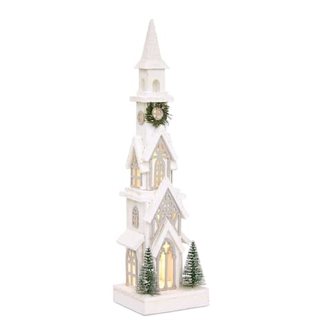 Set of 2 Snowy White Wooden Church with LED Lights and Timer, 24.25