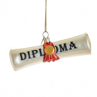 "Pack of 8 Ivory Graduation Day Themed ""Diploma"" Quoted Glass Hanging Ornaments 4.5"""