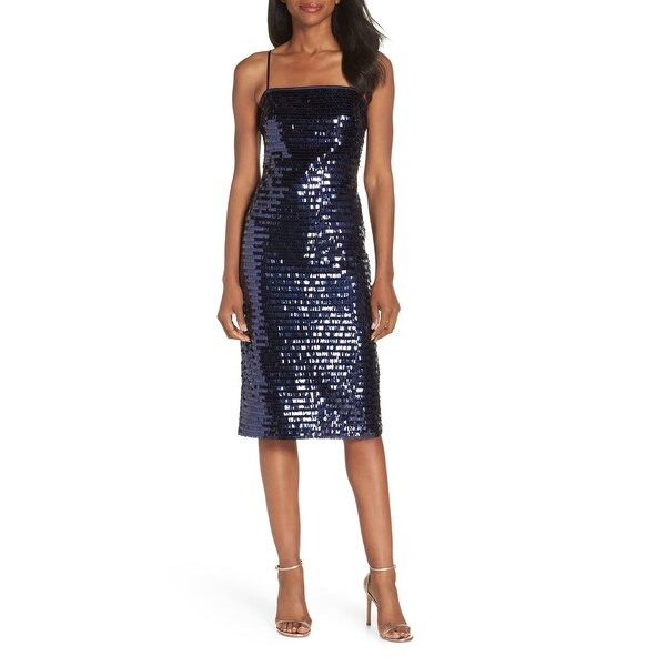 Eliza J Blue Women's Size 10 Sequi-Embellished Sheath Dress