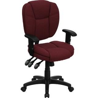 Aberdeen Mid-Back Burgundy Fabric Ergonomic Swivel Home/Office Task Chair w/Arms