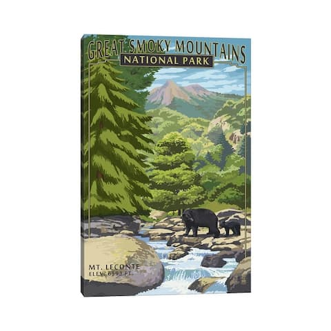 """iCanvas """"Great Smoky Mountains National Park (Mount Le Conte)"""" by Lantern Press Canvas Print"""