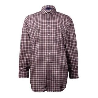 "Tommy Hilfiger Men's Plaid Dress Shirt (Red, 18/34-35) - 18x34-35"""