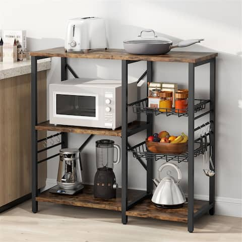 Kitchen Cart Baker's Rack,Microwave Oven Stand - Brown