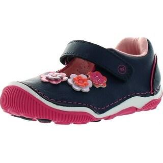 Stride Rite Girls Srt Greta Mary Jane Flats Shoes - Navy/Pink - 4.5 m us toddler