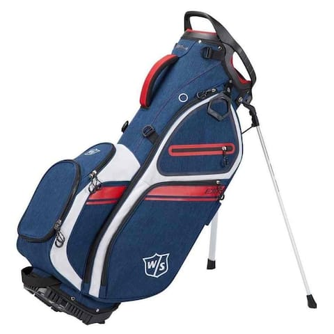Wilson Staff EXO II Stand Golf Bag, 5 Divided Club Sections - Navy/White/Red - Blue