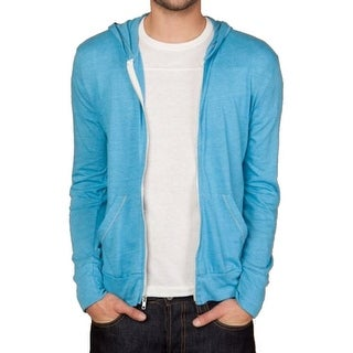 Alternative NEW Blue Mens Size Large L Contrast Full Zip Hooded Sweater
