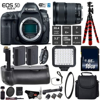 Canon EOS 5D Mark IV DSLR Camera with 24-105mm is STM Lens + Tripod + Battery Grip + Case + Card Reader - Intl Model