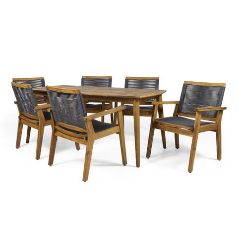 Mcgill Outdoor 7 Piece Acacia Wood Dining Set by Christopher Knight Home