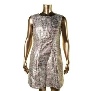 Tahari ASL Womens Roger Metallic Textured Party Dress