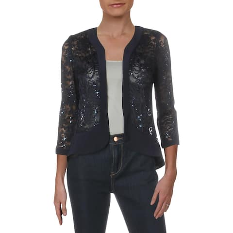R&M Richards Womens Cardigan Top Lace Sequined - Navy