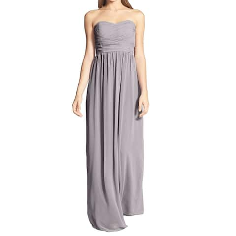 Donna Morgan Womens Dress Gray Size 16 Strapless Ruched Chiffon Gown