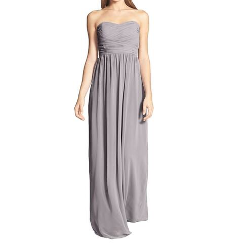 Donna Morgan Womens Gown Gray Size 16 Strapless Ruched Chiffon Padded
