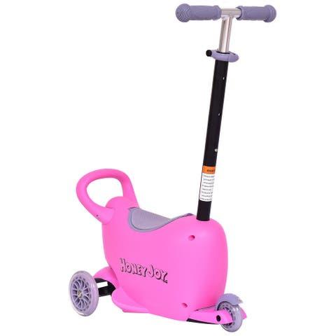 3 in 1 Storage Kids Kick Wheel Scooter w/ Adjust Handle Bar-Pink