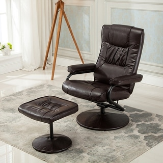 Belleze Contemporary Bonded Leather Recliner and Ottoman Set Reclining Chair Wrapped Base Brown & Contemporary Leather Recliner and Ottoman with Leather Wrapped ... islam-shia.org