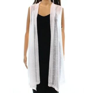 Alfani NEW White Women's Size Large L Open Front Knit Vest Sweater