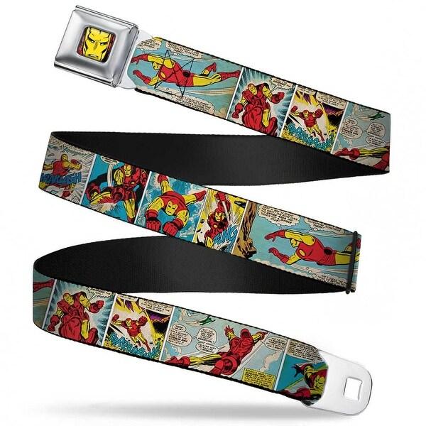 Marvel Comics Iron Man Face Full Color Red Yellow Iron Man Comic Strip Seatbelt Belt