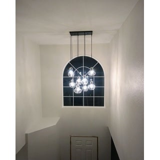 Warehouse Of Tiffany Beveen Black Metal and Glass Gourde 8-light Pendant